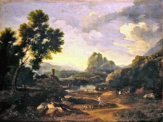 Landscape with hunter and dogs