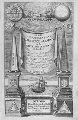 Title-page to 'Of the advancement and proficience of learning' by Francis Bacon, 1640