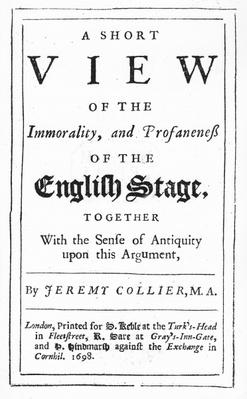 Titlepage to 'A Short View of the Immorality and Profaneness of the English Stage' by Jeremy Collier, 1698
