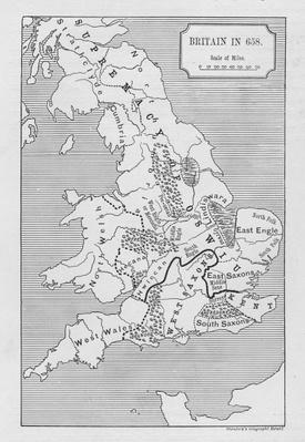 Map of Britain in 658, produced by Stanford's Geographical Establishment