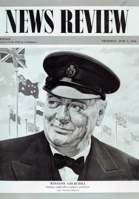 Winston Churchill, from the frontcover of 'News Review', 6th June 1946