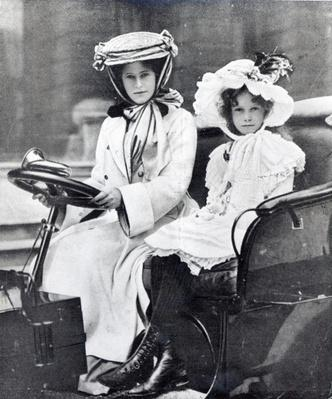 Millicent, Duchess of Sutherland and her daughter at the first meeting of the Ladies Automobile Club, 1903