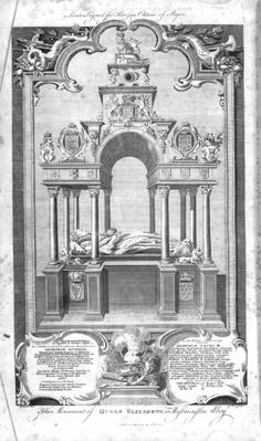 The Monument of Queen Elizabeth in Westminster Abbey, illustration from Rapin's 'History of England', engraved by John Goldar, 1786