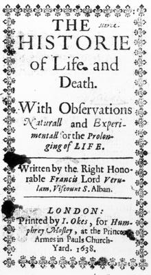 Titlepage to Francis Bacon's 'The History of Life and Death', published in 1638