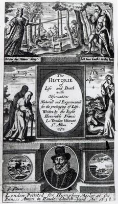 Frontispiece to Francis Bacon's 'The History of Life and Death', published in 1638