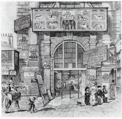 Exeter Change showing the entrance to Edward Cross's Royal Grand National Menagerie, c.1829