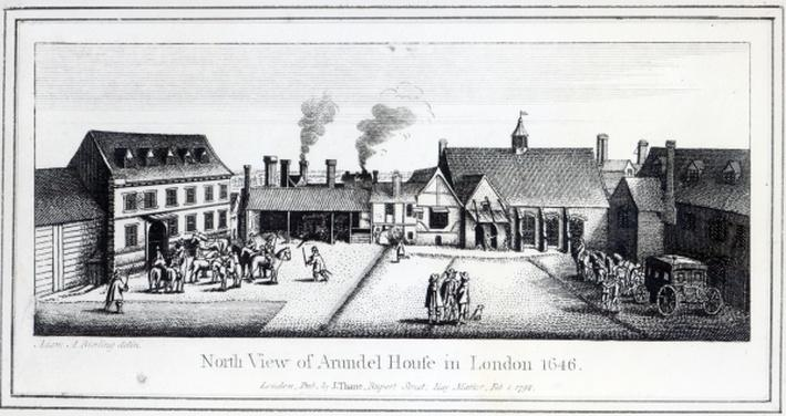 North View of Arundel House in London etched by Wenceslaus Hollar in 1646 and published in 1792