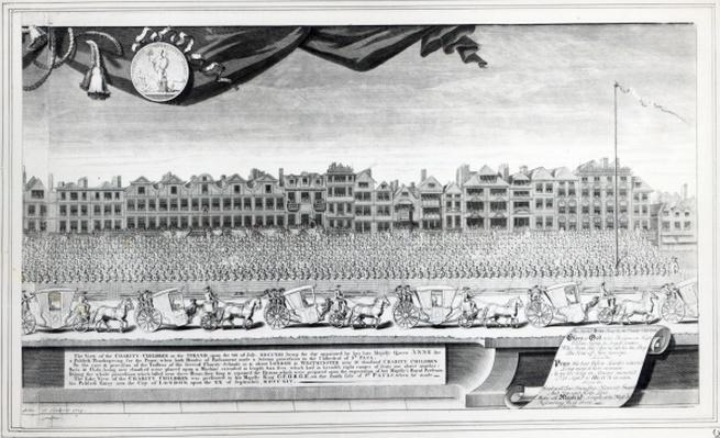 View of the Charity Children in the Strand, 7th July 1713, print made in 1715