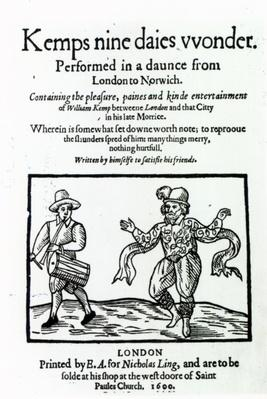 Titlepage to William Kemp's 'Nine Days Wonder', published in 1600