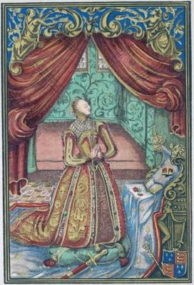 Queen Elizabeth I at Prayer, frontispiece to 'Christian Prayers', 1569