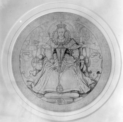 Design for the obverse of Queen Elizabeth I's Great Seal of Ireland, c.1584