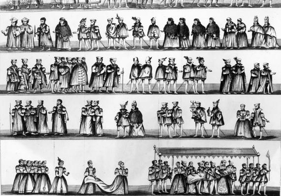 Procession at the Christening of Prince Arthur, son of Henry VII, engraved in 1782