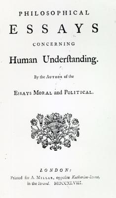 portrait of david hume engraved by william henry worthington  titlepage of philosophical essays concerning human understanding by david hume