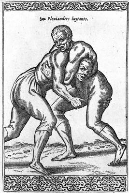 Turkish Wrestlers, illustration from 'Les navigations, peregrinations et voyages, faicts en la Turkie' by Nicolas de Nicolay, published in 1577