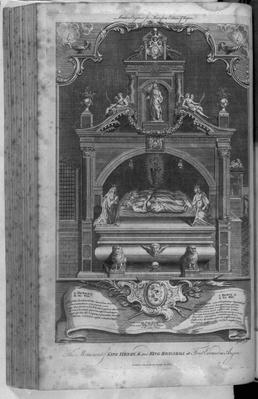 The Monument to Henry II and Richard I in Fontevrault Abbey, engraved by John Goldar, 1786
