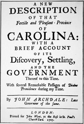 Title-page of 'A new description of that fertile and pleasant province of Carolina'