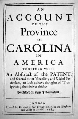 Title-page of 'An Account of the province of Carolina in America' by Samuel Wilson, printed in London, 1682