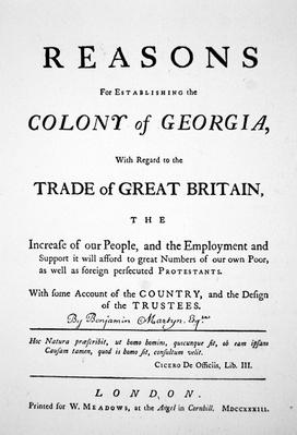 Title-page of 'Reasons for Establishing the Colony of Georgia' by James Oglethorpe, published in London, 1733