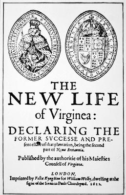 Title page from 'The New Life of Virginea', published London, 1612
