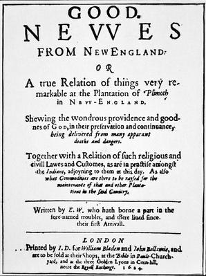 Title-page of a journal relating 'Good Newes from ... plantation of Plimoth in New-England', published in London, 1624