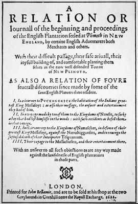Title-page of a journal relating proceedings of the 'English plantation ... at Plimoth in New England', published in London, 1622