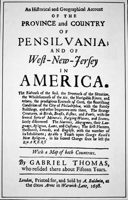 Title-page of a book promoting the virtues of Pennsylvania in America, published in London, 1698