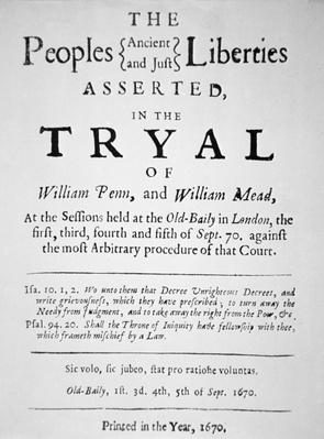 Document describing the trial of William Penn in London for preaching the Quaker religion, 1670