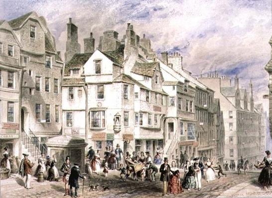 High Street, Edinburgh, showing John Knox's House, 19th century