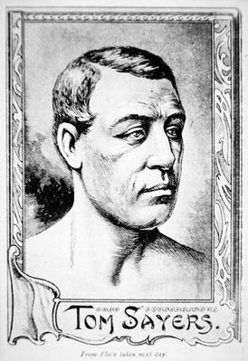 Portrait from a photograph of Tom Sayers the day after his great fight with John Heenan on 17th April, 1860 at Farnborough, England