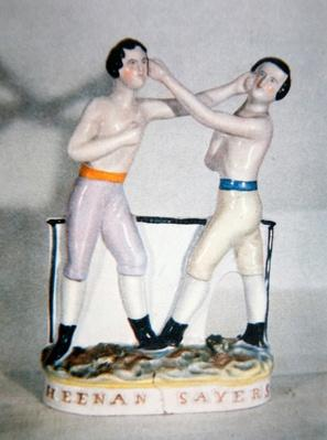 Victorian Staffordshire group commemorating the championship fight between John Heenan and Tom Sayers on 17th April, 1860