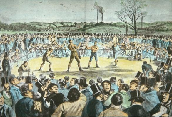 Tom Sayers v. John Heenan at Farnborough, England on 17th April, 1860