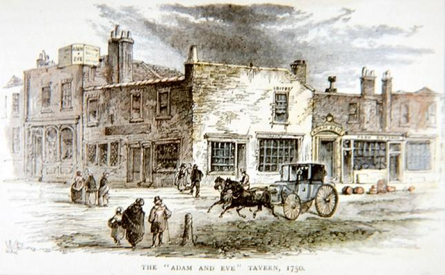 The Adam and Eve Tavern, London where James Figg had his academy of boxing