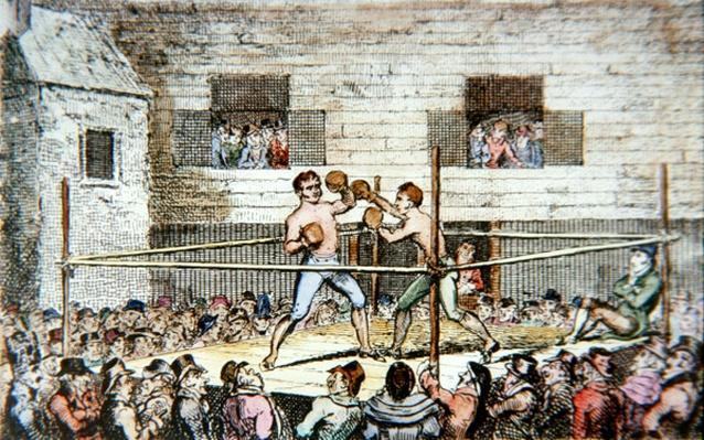 A sparring match at the fives court, London, from a print published in 1812