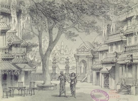 Set Design for Act II of the opera 'Lakme', by Leo Delibes