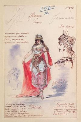 Costume designs for the role of Phrine in the opera 'Faust', by Charles Gounod