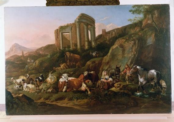 Classical Landscape with Animals