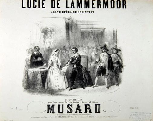 Playbill for the opera 'Lucie de Lammermoor', by Gaetano Donizetti