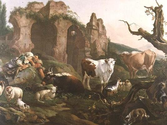 Lovers in a Classical Landscape with Animals