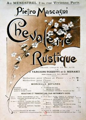Playbill for the opera 'Chevalerie Rustique', by Pietro Mascagni