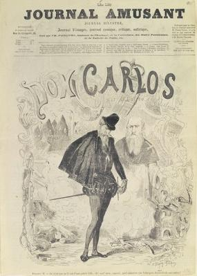 Front page of 'Le Journal Amusant', with a caricature of Don Carlos, from the opera 'Don Carlos', by Giuseppe Verdi