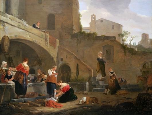 Washerwomen by a Roman Fountain