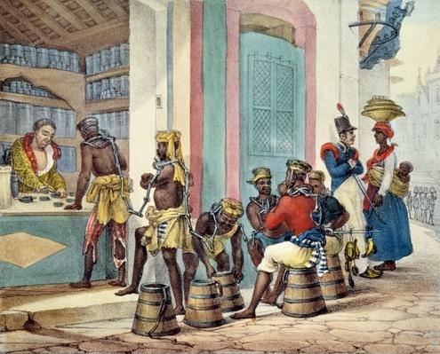 Manacled slaves buying tobacco from a Tobacco shop in Rio de Janeiro, 1835