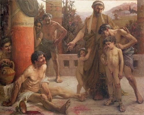 A Spartan points out a drunken slave to his sons, 1900