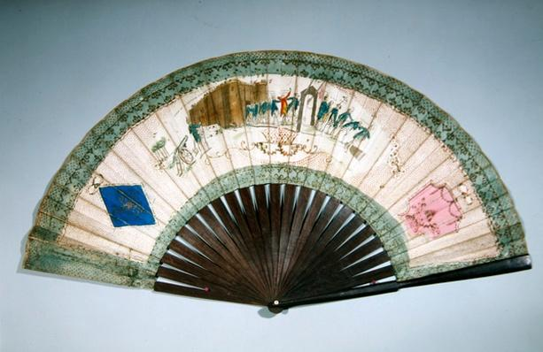 Fan commemorating the capture of the Bastille on 14th July, 1789