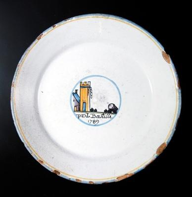 Plate with French Revolutionary motif commemorating the capture of the Bastille on 14th July, 1789