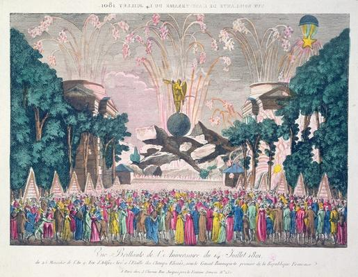 Fireworks at the Etoile, Champs-Elysees, Paris, to celebrate the anniversary of the 14th July, 1801