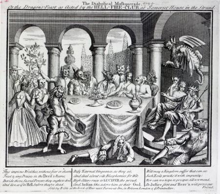 The diabolical maskquerade, or the the dragons-feast as acted by the Hell-Fire-Club, at Somerset House in the Strand, c.1721