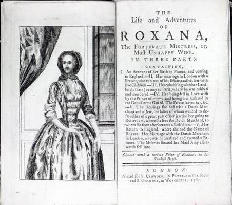 Frontispiece to 'Roxana, The Fortunate Mistress' by Daniel Defoe, edition published in 1765