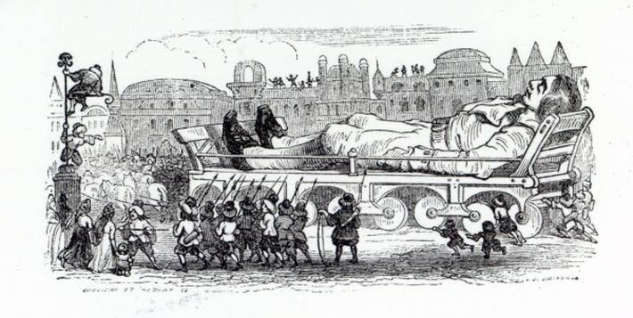Gulliver being transported to the Lilliputian capital, an illustration from 'Gulliver's Travels' by Jonathan Swift, 1838