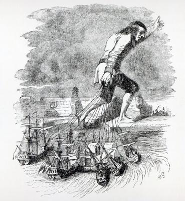 Gulliver stealing the Blefuscudian fleet, illustration from 'Gullivers Travels' by Jonathan Swift, 1838
